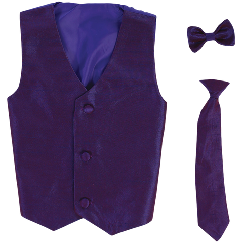 Purple Vest & Tie Set Poly Silk with Tie Choice Boys (735)