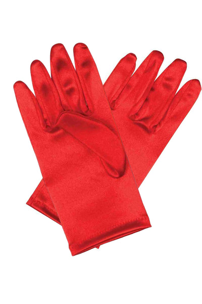 Girls Red Satin Short Wrist Length Gloves