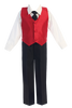 Red Poly Silk Vest & Black Pants Boys 4 Pc Outfit (G823)