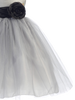 Silver Tulle & Poly Silk Blossom Flower Girls Dress with Black Sash (BL228)