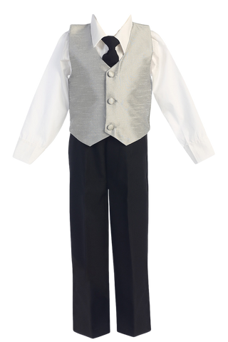 Silver Poly Silk Vest & Black Pants Boys 4 Pc Outfit (G823)