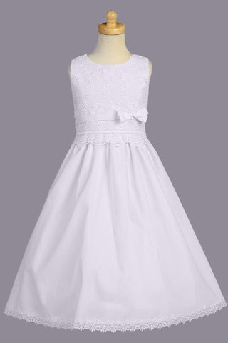 Girls Cotton Blend Communion Dress with Venice Lace & Floral Embroidery  SP105