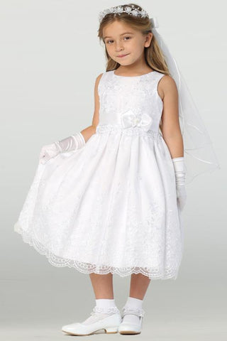 Girls Embroidered Organza Lace First Communion Dress sp110