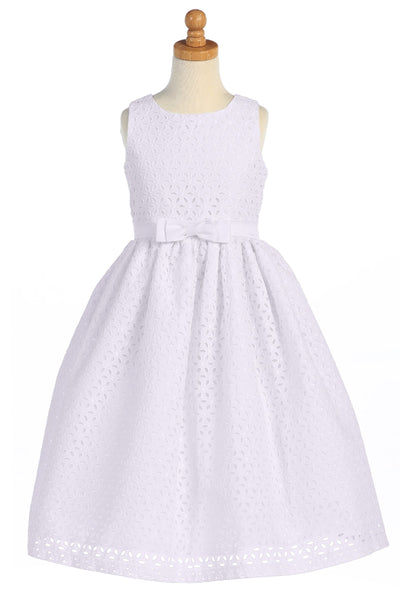 Cotton Eyelet Girls Communion Dress with Embroidered Flowers SP120