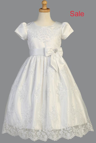 Floral Corded Lace Applique Tulle Girls Communion Dress Size 7