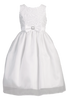 Girls White Organza Communion Dress w. Ribbon Detail Bodice  SP154