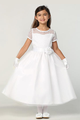 Embroidered Tulle w Illusion Neckline Girls Communion Dress sp169