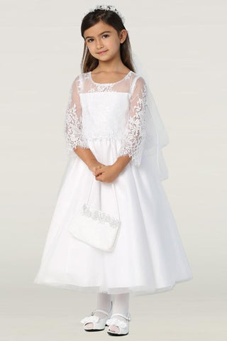Embroidered Lace & Tulle Girls First Holy Communion Dress sp172