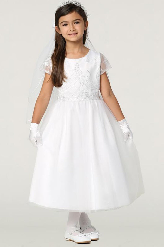 Embroidered Tulle w Sequins Girls Communion Dress Plus Size 10x-18x