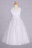 Flower Trimmed Satin & Tulle Girls Communion Dress with Pearl Accents SP645
