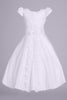 Lace Trim Split Skirt Girls Plus Size Communion Dress w. Floral Appliques SP975