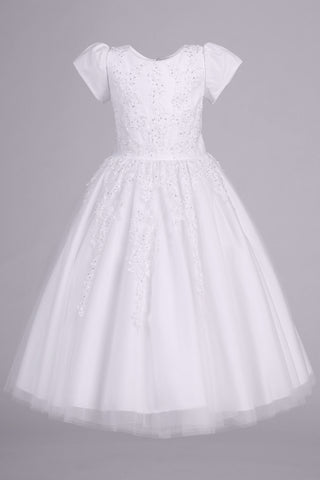 Girls Plus Size Tulle Communion Dress with Beaded Floral Appliques SP977
