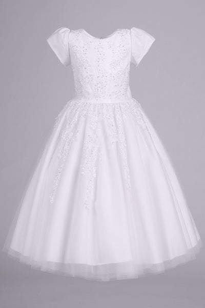 Girls Tulle Communion Dress with Beaded Floral Appliques SP977