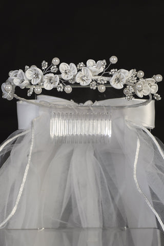 "Satin Flower Wreath with Rhinestone & Beading 24"" Girls Communion Veil"