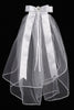Girls Communion Veil with Satin Flowers & Rhinestone Wreath