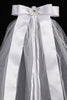 Girls Communion Veil with Satin Flowers & Rhinestone Wreath T458