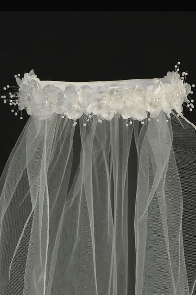 Ivory Flowers & Pearl Wreath 30 Inch Girls Communion Veil T4