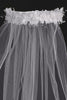 White Flowers & Pearl Wreath 30 Inch Girls Communion Veil T4