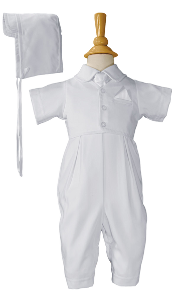 Baby Boys White Gabardine Vested Baptism Christening Coverall w. Tie & Hat  GB501S