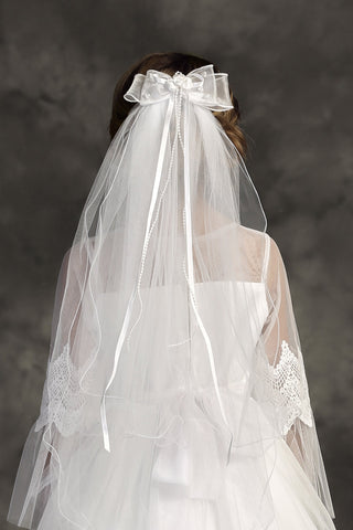 White Ruffled Girls Communion Comb Veil w. Organza Bow