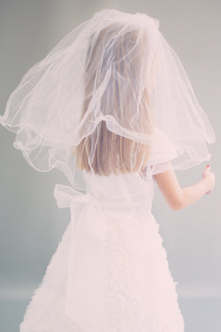 Two Layer White Communion Comb Veil Veil004
