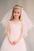 Rhinestone Princess Crown Girls Tiered Communion Veil Veil007