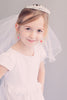 Crystal & Rhinestone Crown Tiara with White Tulle Girls Communion Veil Veil015