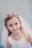 Dangling Cross & Rhinestone Swirls Tiara Girls Communion Veil Veil016