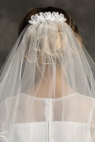 Girls Organza Flowers White Communion Comb Veil w. Rhinestones