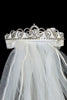 Silver Rhinestone Cross Centered Crown Tiara Girls Communion Veil