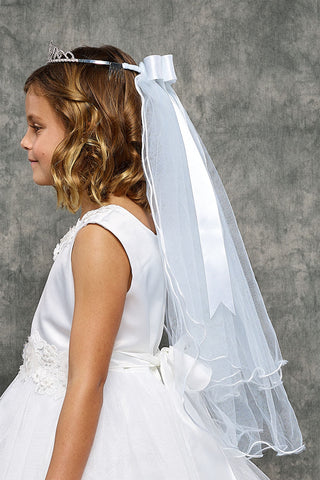 Scrolling Rhinestone Crown with Cross Girls White Communion Veil