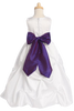 White Shantung Flower Girl Dress w. Full Length Gathered Skirt BL212