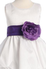 White Shantung Flower Girls Dress with Pick up Skirt (BL212)
