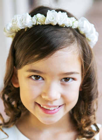 Girls Ivory Floral Crown Wreath w. Silk Flowers & Back Organza Bow HB007