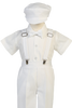 White Suspender Pants 5 Pc Easter Spring Outfit Baby to Little Boys (G825)