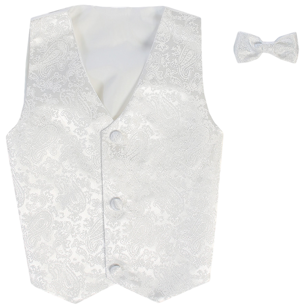 Paisley White Vest & Tie Set Poly Silk w Tie Choice Boys (735)