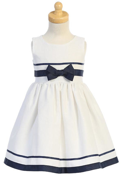 White & Navy Blue Trim Linen Blend Girls Easter Dress M754