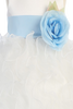White Satin & Ruffled Organza Flower Girl Dress w. Sash BL223