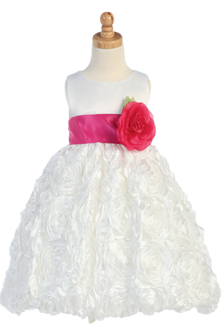 White Flower Girls Bubble Dress w Satin Ribbon Flowers (BL220)