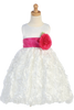 White Satin Flower Girl Dress w. Floral Ribbon Skirt & Sash BL220