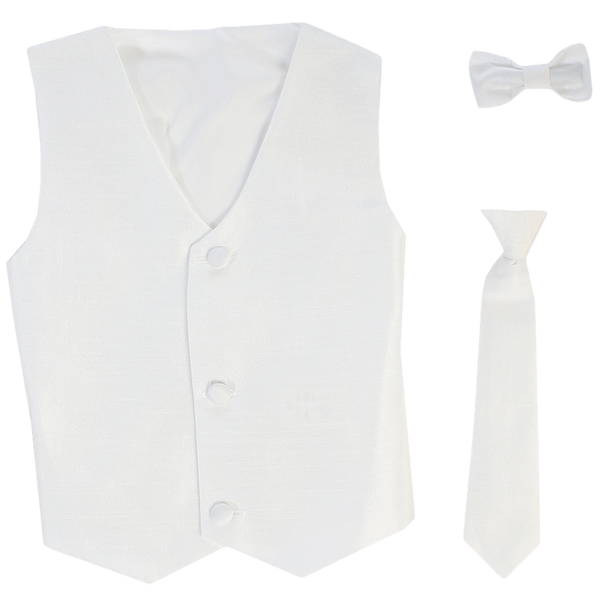 White Poly-Silk Boys Vest & Tie Set  735