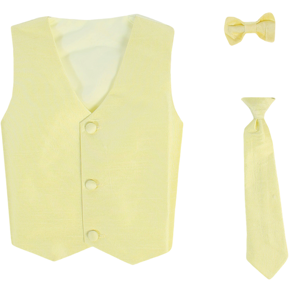 Yellow Vest & Tie Set Poly Silk with Tie Choice Boys (735)