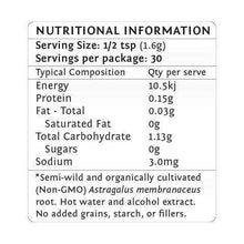 Astragalus nutritional information