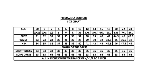 Primavera Couture Size Chart Prom Dress Pageant Gown Glass Slipper Formals