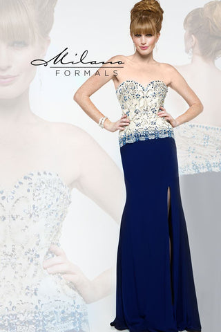 Milano Formals E1850 Beaded Bodice Gown with slit in Navy size 0
