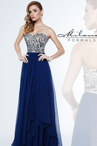 Milano Formals 1870 Size 00, 4 Long Navy Chiffon Prom Dress Formal Gown