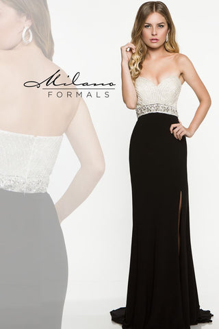 Milano Formals E1871 Sweetheart strapless gown in Black Size 4