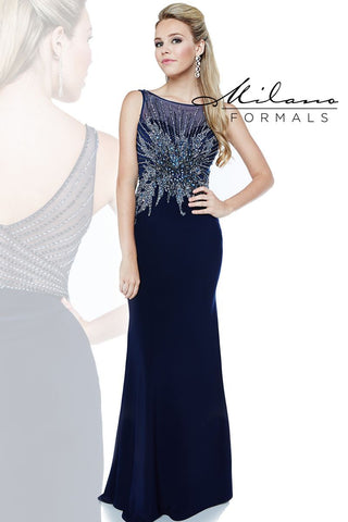 Milano Formals E1862 Sleeveless Gown in Navy Size 2, 4 Prom Dress Pageant Gown
