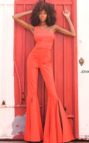 Jovani 00065 Long One Shoulder Prom Jumpsuit Pageant Bell Bottom Pant Suit