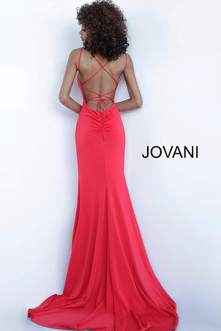 Jovani 00469 Long 2020 Prom Dress Fitted Spaghetti Strap Gown Open Back Train Simple